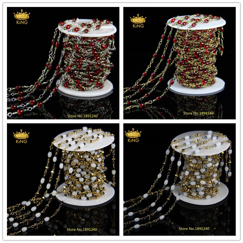 4 Color for choice Rice Shape Glass Beads Chain Jewelry Plated Gold and Silver Chain Connector Findings Rosary Chain HX012 1