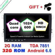 "Nowy 2 Din Radio Samochodowe Dvd Playe 1024*600 9 ""2g + 32g Android 6.0 Quad Core Dla Volkswagen Vw Golf Tiguan Passat Polo Skoda Seat"