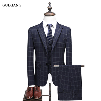 New Arrival Style Men High-end Boutique Three-pieces Suits High Quality Business Casual  Single Breasted Grid Slim Blazers S-5XL