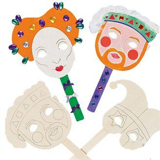 6PCS/LOT.Handpainted unfinished mask,Wood mask,Kids party favor,Wood toys,Birthday party supplies.30x19cm,Freeshipping