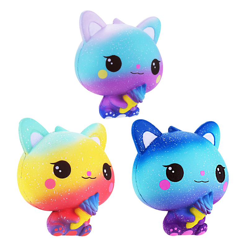 Best Selling Cute Jumbo Galaxy Ice Cream Cat Kitty Squishy Slow Rising Strap Soft Squeeze Scented Bread Cake Toy Gift Kid Fun