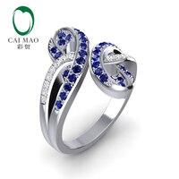 Caimao 14 K белое золото 0.54ct синий сапфир & 0.13ct бриллианты обручальное кольцо