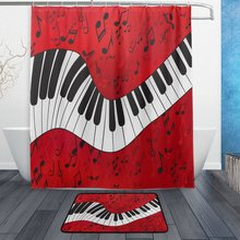 Musik Piano Shower Gardin og Mat Set, Music Note Vandtæt Fabric Badeværelset Gardin
