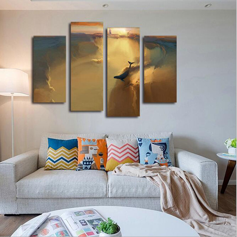 4 Panel Home Decor Wall Art Canvas Painting Dark Brown Oil