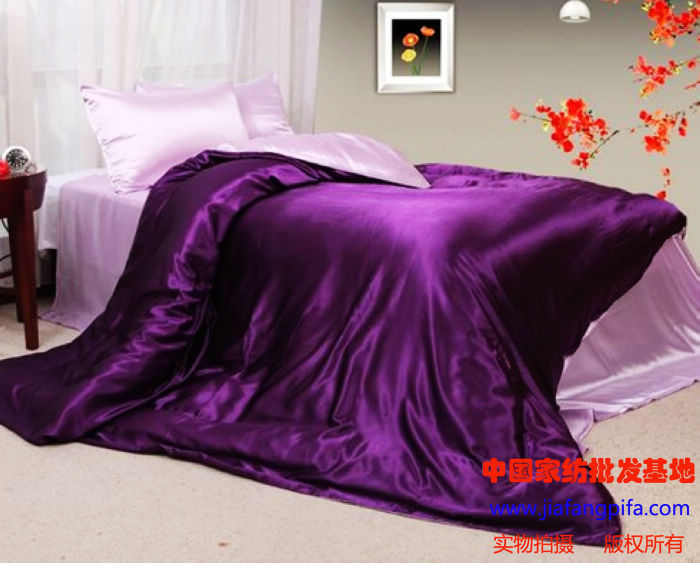 Purple Pink Silk Satin Bedding Set King Queen Size