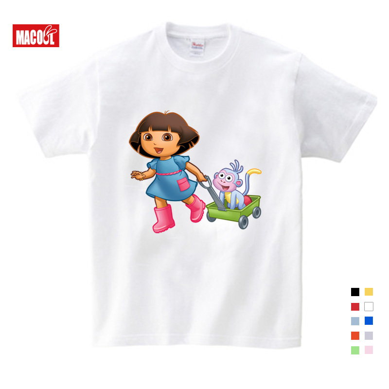 3T 9T Girl Summer Cotton T Shirts Casual Funny Top T Shirt Boys Tops 2019 New T Shirts Kids Toddler Dora Explorer Tee Shirt in T Shirts from Mother Kids