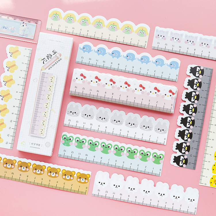 30pcs / set , Cute Cartoon Animal Paper Ruler for Kids , Safe Kids Straight Ruler for School