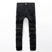2016 Jeans Men Pants Hole Zipper Trousers Denim Boost Biker Balmai Man Masculina Ripped Pant Knee