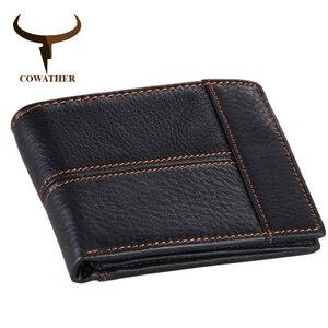 Image 2 - Cowather 100% Top Kwaliteit Koe Lederen Mannen Portefeuilles Fashion Splice Portemonnee Dollar Prijs Carteira Masculina Originele Merk