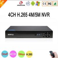 Hisiclion Sensor Xmeye 4 5M HD Digital 4CH 4 Channel H 265 Surveillance IP ONvif Camera