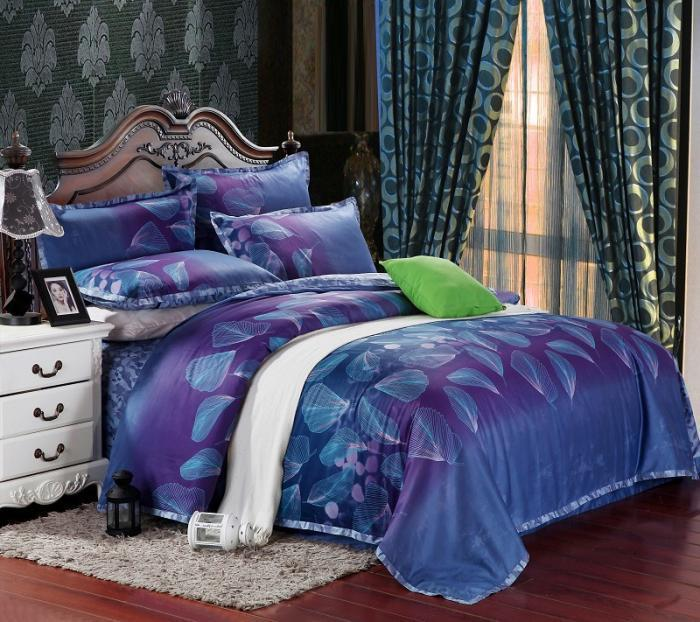 Beautiful Egyptian cotton blue purple satin bedding comforter set sets king  KY48