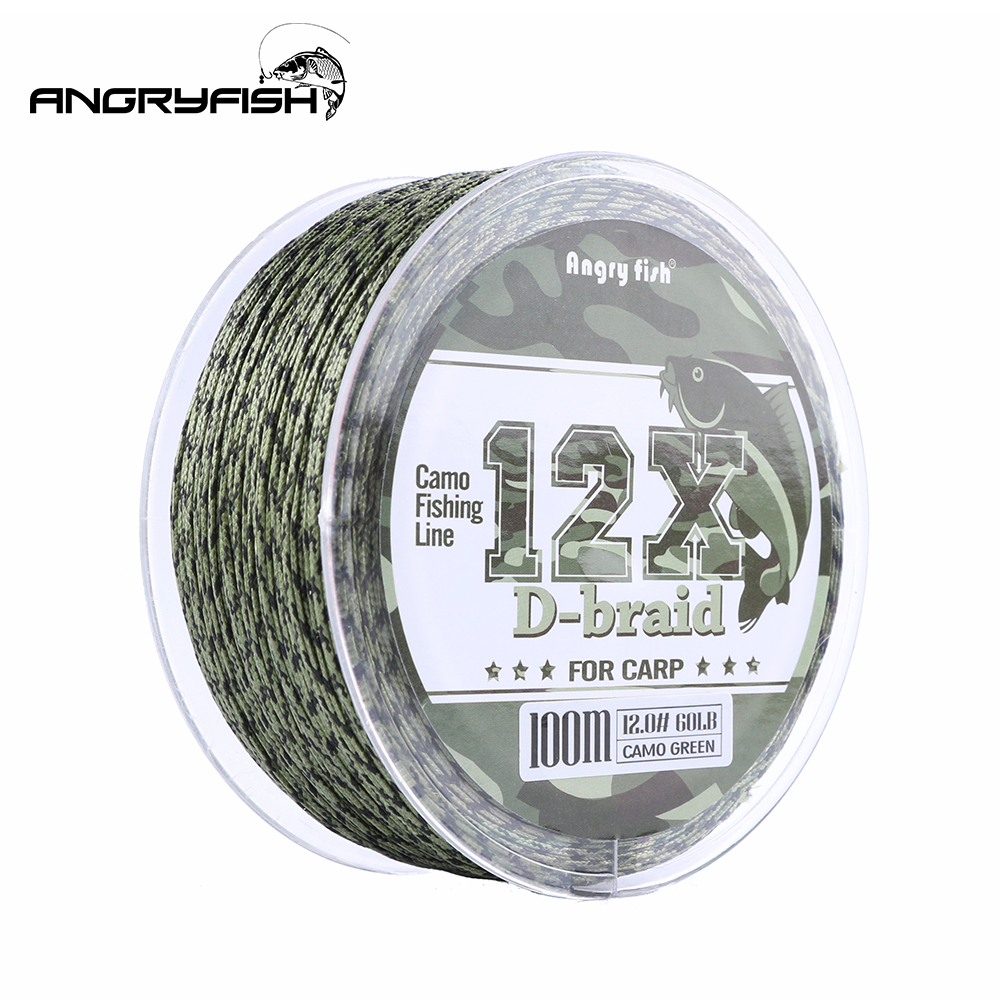 Angryfish Carp Fishing Line 12 Strands Weave D-braid 100 Meters Camo Braided PE Fish Line