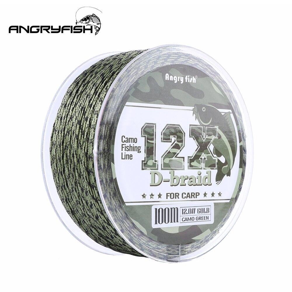 Angryfish 12 Vertentes Weave D-trança Linha de Pesca Da Carpa 100 Metros Camo Trançada PE Peixe Linha