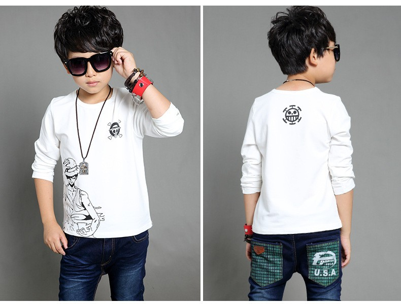 anime Skull sprinted kid t-shirt for boys clothes t-shirt long sleeve white gray cartoon children tops tees boys spring autumn 2017 new clothing (5)