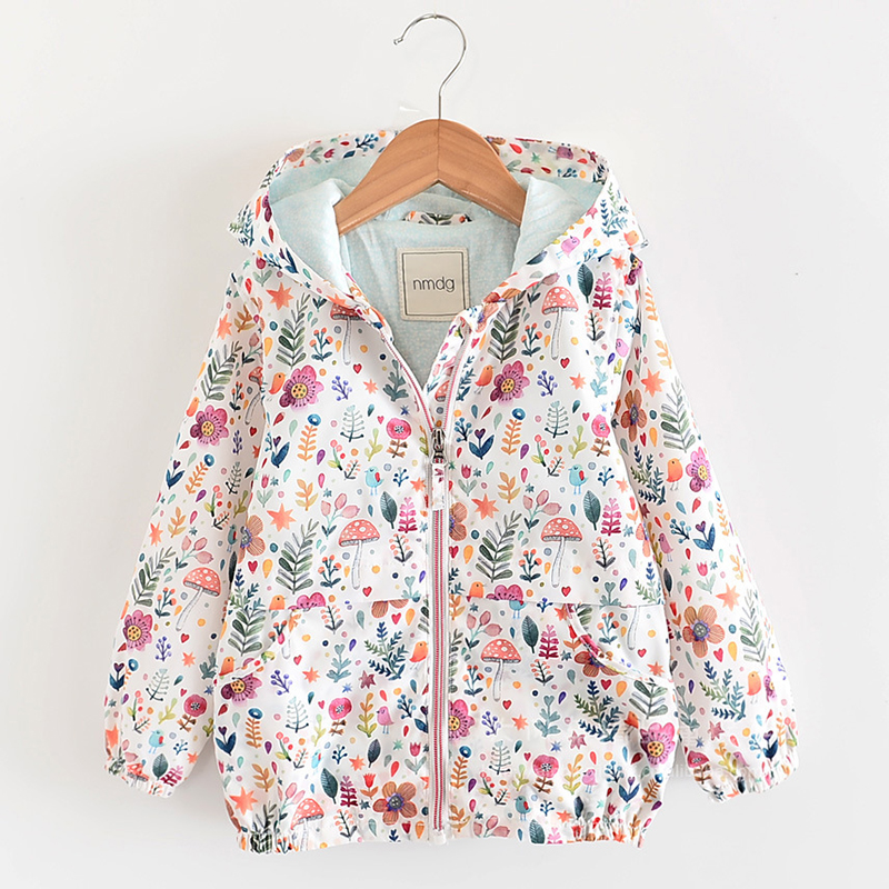 Fashion Jackets For Girls Coat Hooded Flower Printing Jackets For Kids Windbreakers Baby Girls Autumn Jackets Children Coat