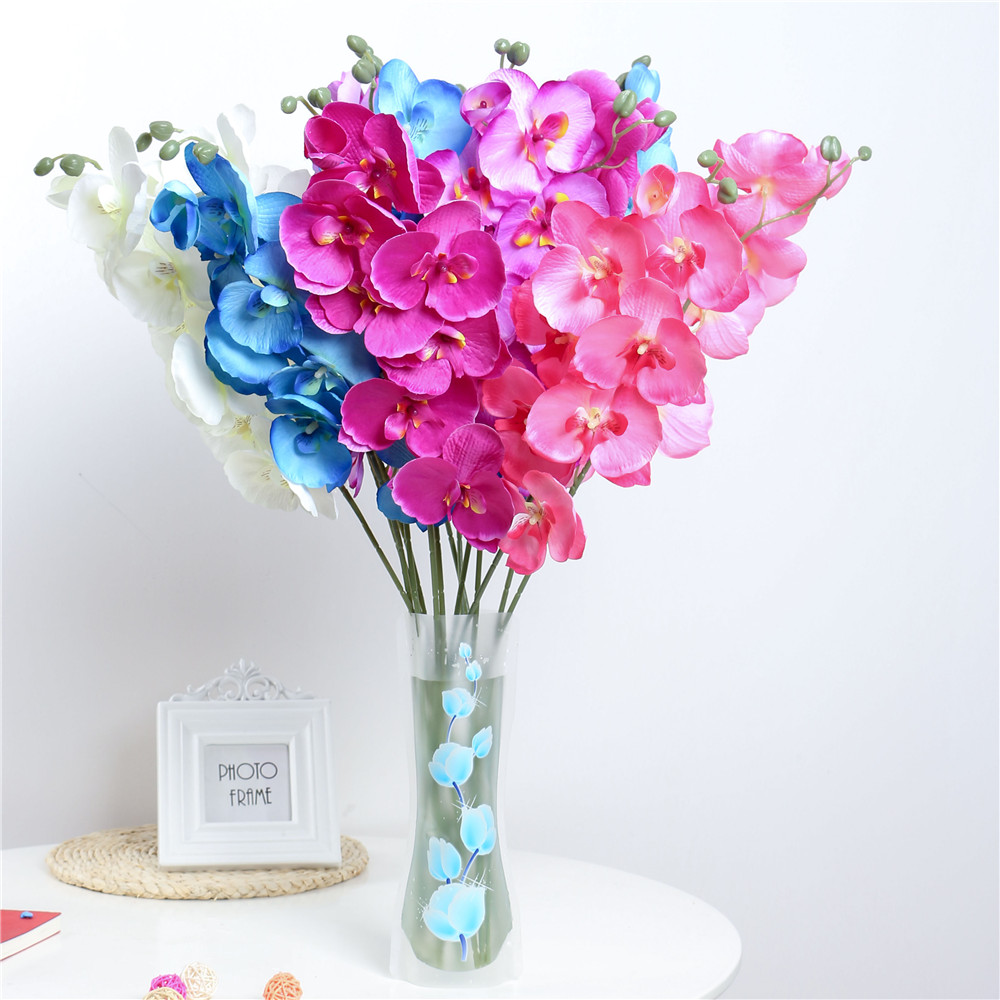 Fashion orchid artificial flowers diy artificial butterfly for Artificial flowers for home decoration