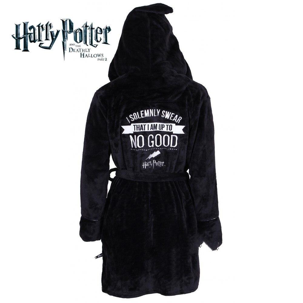 Harri Potter Hogwarts Symbol Black Magic Cloak Robe Coral Velvet Nightgown Pajamas Cosplay Costume Fashion Gift Warm