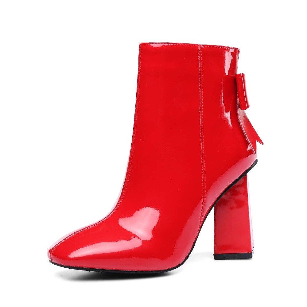 유럽 영화 별 슈퍼 높은 이상한 발 뒤꿈치 암소 특허 가죽 광장 발가락 나비 매듭 지퍼 플러스 크기 중반 송아지 부츠 l95-에서미드 카프 부츠부터 신발 의  그룹 3