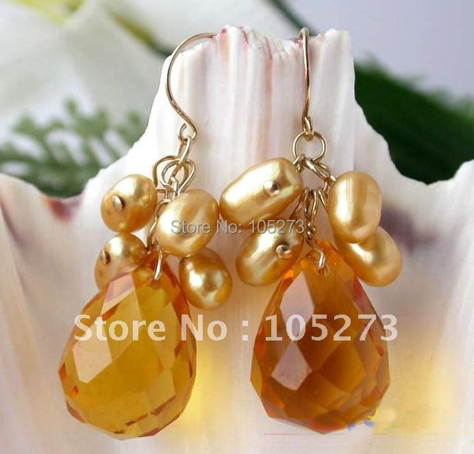2018 Brown Color Pearl Dangle Drip Faceted Earring Fashion Jewelry Hot Sale New Arrive Free Shipping