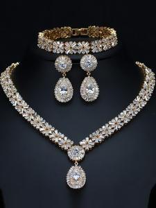 Cwwzircons Jewellery Bracelet Plate Necklace Earring Dubai Gold Exclusive Women Luxury