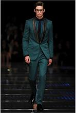 Runway Fashion Dark Green Men Suits Black Shawl Lapel Blazer Wedding Prom Tuxedos Slim Fit 2 Pieces Groomsman Suits Custom Made