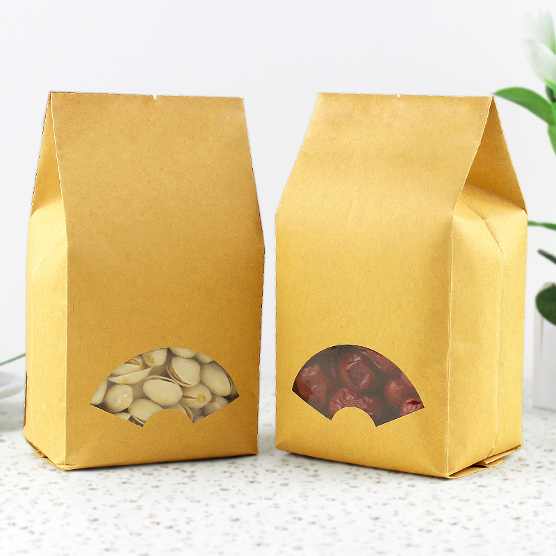 100pcs/lot-9*22+6.5cm Kraft Paper Organ Window Bag for Gift/Tea/Candy/Jewelry/Bread Packaging Paper Food Bag DIY Packaging Bags