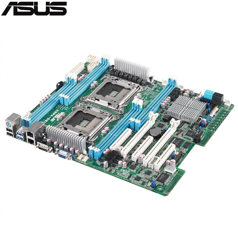 original Used Server motherboard For ASUS Z9PA-D8 C602 Support 2011 E5-2600/E5-2600 v2 Maximum DDR3 256GB 4*SATAIII 2*SATAII ATX original server board z9pa d8 double cpu c602 chip 2011 pins
