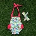 2016 новые девочки пояса ярко розовый цветочный принт ползунки детской одежды младенцев детская одежда бутик одежды с соответствующими повязка на голову комплект