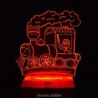 7色変え3d bulbing光列車ビジュアル錯覚ledランプアクションフィギュアパズルジグソーパズル知育玩具発光おもちゃギフト