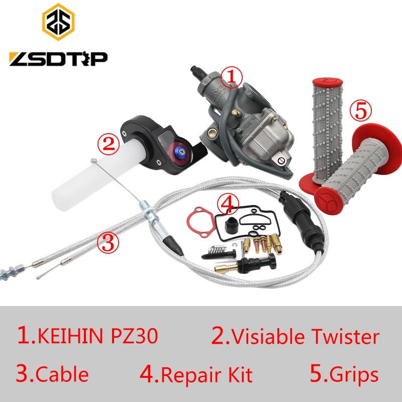 Carburateur ZSDTRP Tuning Power Jet KEIHIN PZ26 PZ27 PZ30 + Twister Visiable + câble + poignées pour Honda KTM Yamaha TTR250
