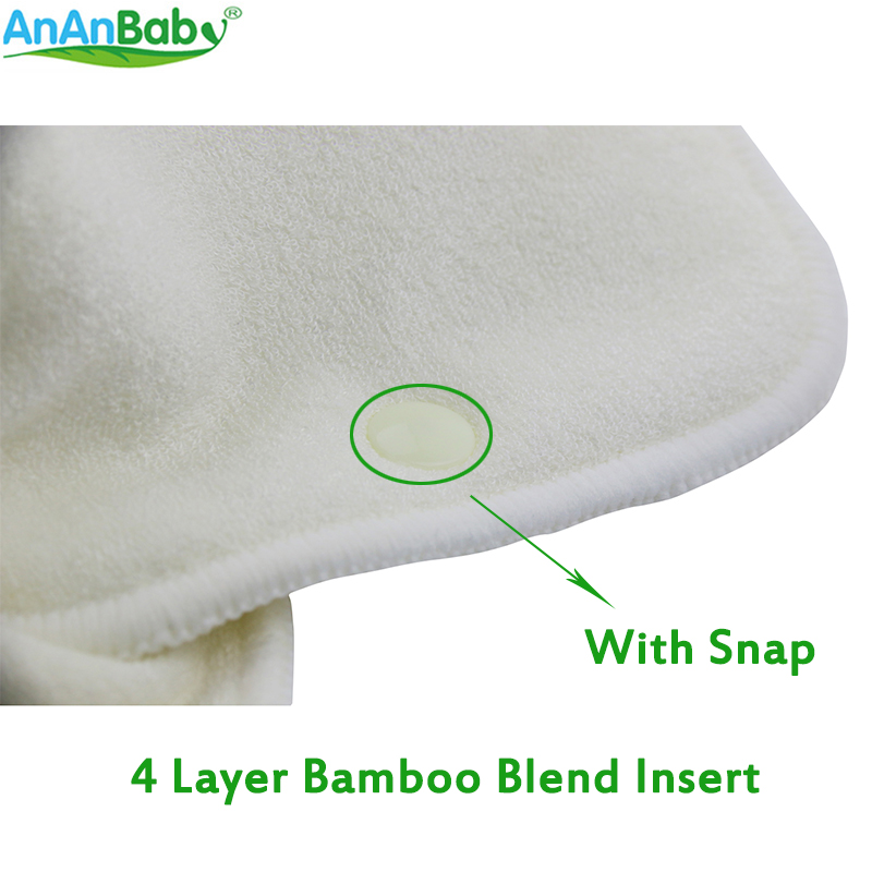 1pcs 4 Layer Bamboo Blend Insert With Snap Fit Cloth Diapers Inserts Nappy Insert