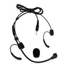 Проводной Двойной наушник микрофон конденсатор гарнитура микрофон 3,5 мм разъем мужской внешний винт запираемый для беспроводной передатчик