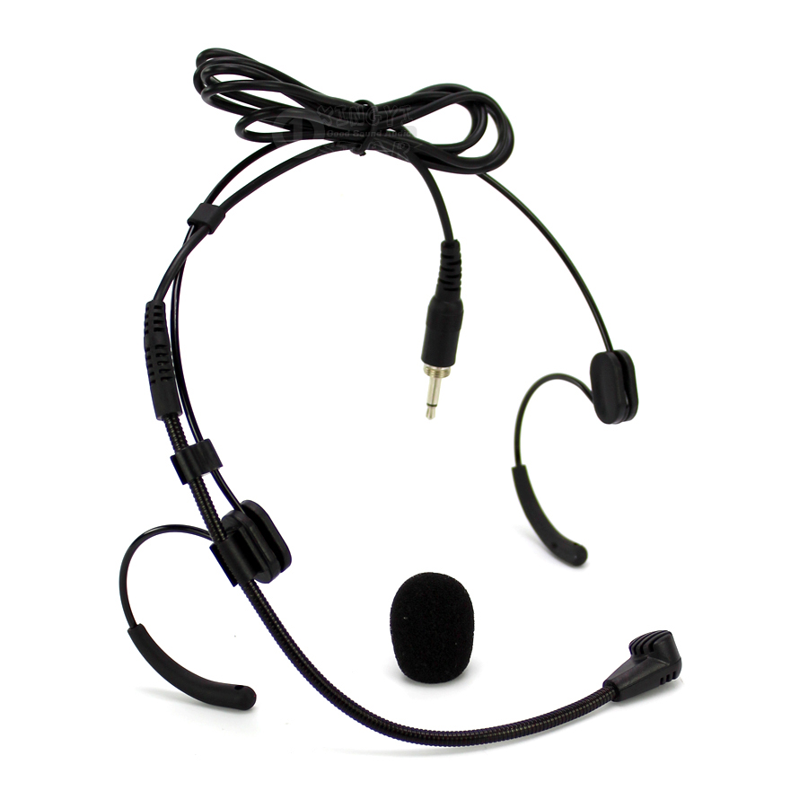 Wired Double Earhook Mic Condenser Headset Microphone 3.5mm Jack Male External Screw Lockable For Wireless Bodypack Transmitter