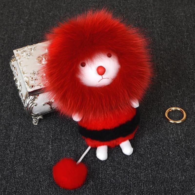 2017 Fashion Hot Sale Zorro Monster Pom Keychain Keychain Car Bag Charm Mens Ladies Fur Leather Rabbit Flush Key Chain Accessor