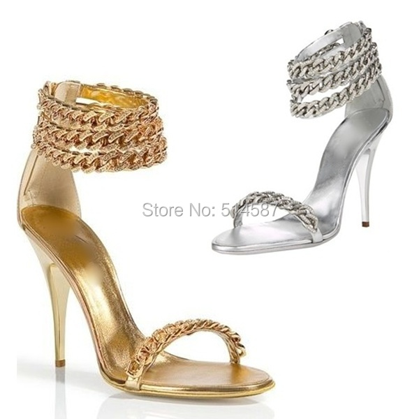 53a1027a77 Shinny women gold and silver ankle chains strap high heel toe open  gladiator sandals bride wedding pump dress shoes large size10