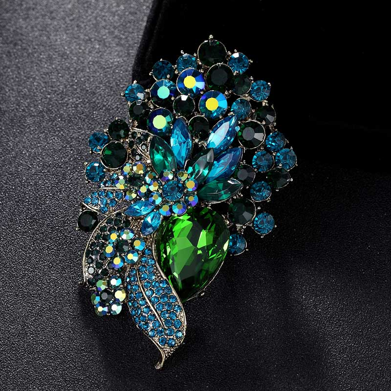 Brown Green Two Color Rhinestone Flower Bridal Brooches Jewelry Womens Vintage Wedding Brooch Pin Best Christmas Gifts
