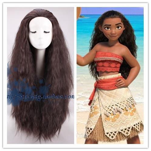 Movie Moana Princess Moana Cosplay Wig Kinky Curly Long Hair Black Wig Halloween danganronpa cosplay celestia ludenbeck wig long wig curly wig short plus two ponytails