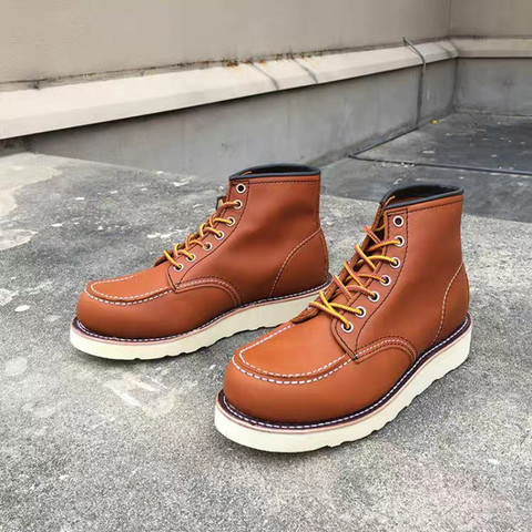 Goodyear-Welted Vintage Genuine Leather Ankle Motorcycle Boots Top Quality Wings Round Toe Men Casual Dress Work Red Boots Shoes Multan