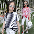 2016 High Fashion Style Girl O-neck T-shirt Stripe Swallow Tail Design Children Tees 2 Colors Available Children Top Shirt