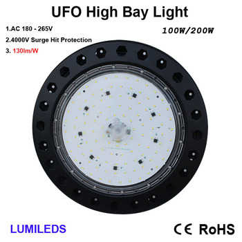 100 Watt LED High Bay UFO Lights -13,500 Lumens- Ultra Efficient 130 Lumens to Watts - Smaller and more efficient - Warehouse LE