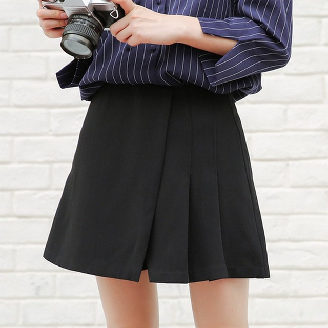 48c0b929df71f EXOTAO High Waist Pleated Loose Mini Skirts Solid Color A-line Saia  Comfortable Women Short Pants Skirts Backness Zipper Faldas