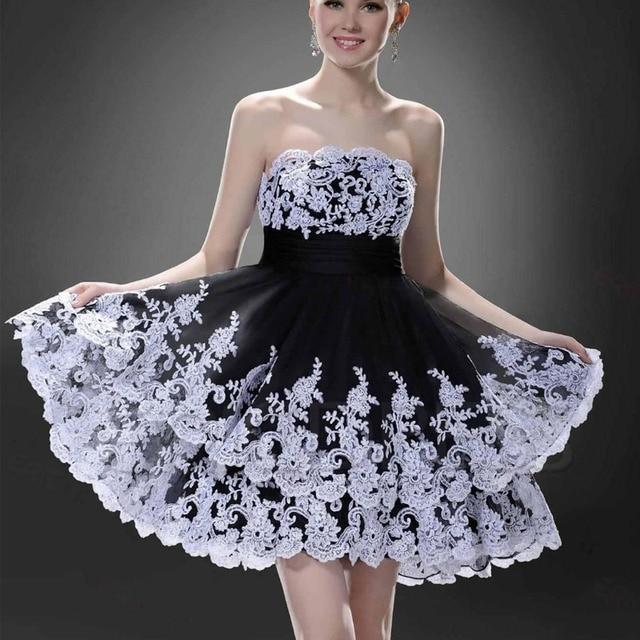 8c84b9b2cc 2016 Nueva Negro Tulle Sin Tirantes Mujeres Vestido Corto de Baile  GownvestidosWhite Apliques de Encaje Vestidos