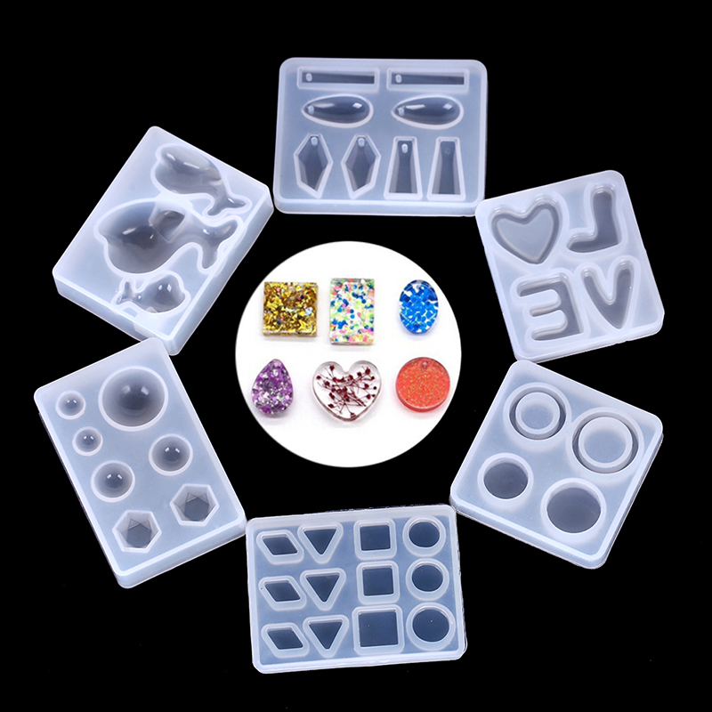 1Pcs Pendant Craft DIY Transparent UV Resin Liquid Silicone Combination Molds For DIY Making Finding Accessories 6 Styles