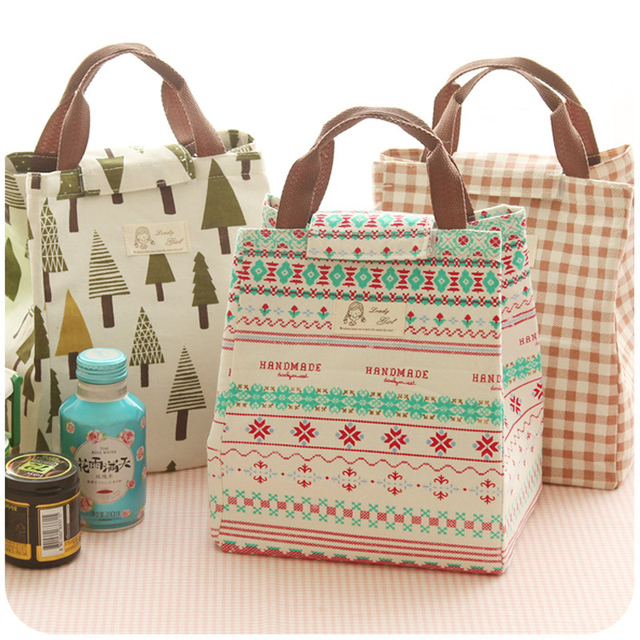 19df48d389 New Cotton Linen Portable Waterproof Canvas Lunch Bag insulation Japan  Loaded with rice Bags tuba Lunch