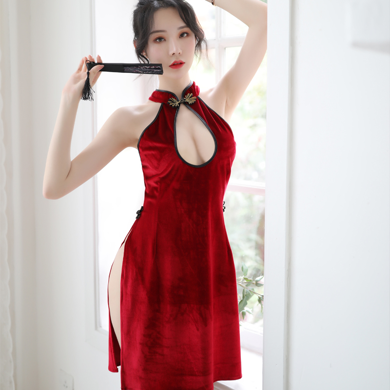New Sexy Lingerie Slim Cheongsam Side Slit Velvet Cross Straps Backless Comfortable Sleepwear Nightdress Suit
