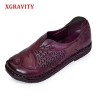 XGRAVITY Size 35 40 Lady Genuine Leather Ethnic Hand Made Woman Shoes Elegant Soft Spring Vintage
