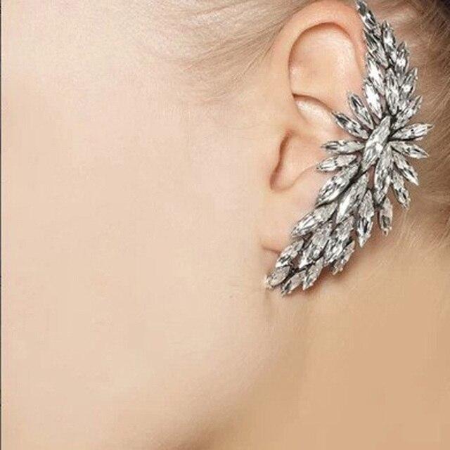 1pcs Punk Style Crystal Ear Cuff Earrings Clip On Full Rhinestone Earcuffs Clips For