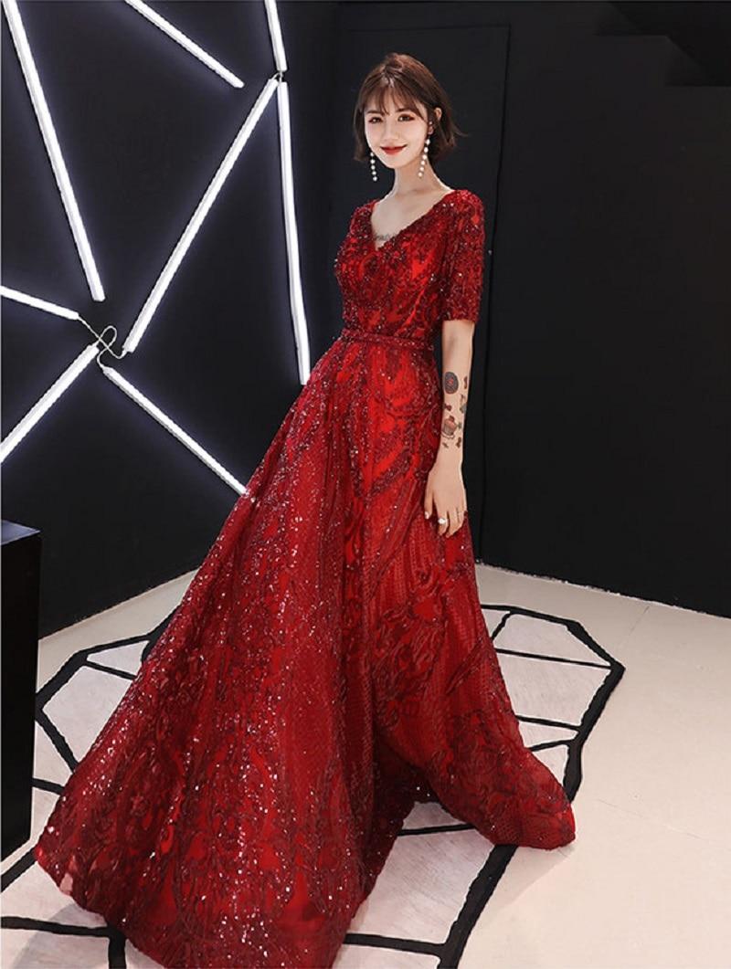 Sexy col en V femmes robe de soirée élégante robe de bal 2019 à manches courtes mode formelle robe de bal pour la fête de mariage LF01