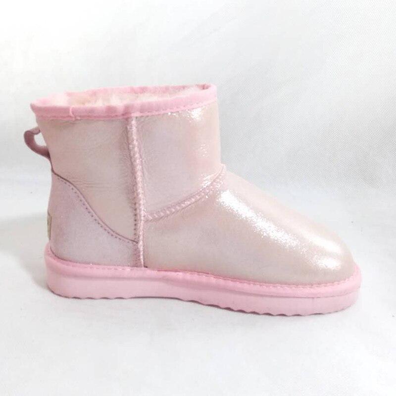 Botas Clásicas Caliente 100 Calidad Superior De Natural hot Piel Pink Invierno pink Black Oveja Las Mujeres white blue Genuina Zapatos Lana Nieve wFAxpO