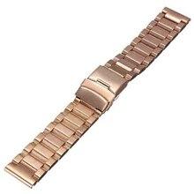 22mm Solid Venda de Reloj de Acero Inoxidable Reloj de Pulsera de La Correa con Hebilla de Implementación (Oro Rosa)